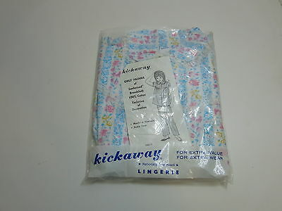 Vintage 1970's Nos / New Girls Kickaway Pajama Outfit Size 8 In Blue Flowers