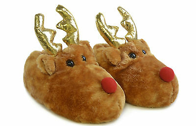 New Kids Childrens Boys Girls Rudolph Reindeer Novelty Fluffy Slippers Xmas Gift