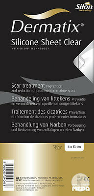 13x4cms DERMATIX® SILICONE SHEET CLEAR scar treatment/prevention. UK & BOXED ❤