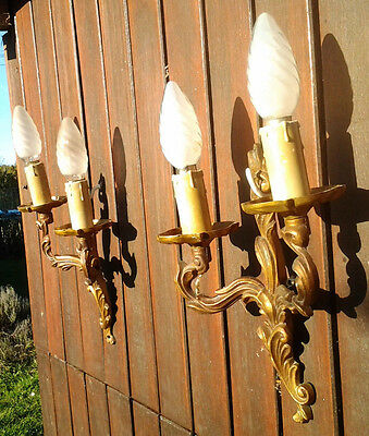 Vintage Pair of Ornate bronze wall lights, original french