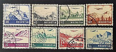 Switzerland 1941 Sc # C 27 to C 34 Air Post Mail VFU NH-HR Used Stamps Set