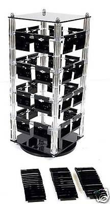 Rotating Earring Display Stand Jewelry Revolving With 100 Black Earring Cards