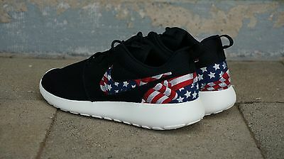 premium selection 3eda2 9e422 New Nike Roshe Run Custom American Flag Red White Blue Edition Men Sizes 8  - 15