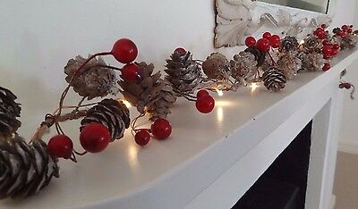 Whitewashed Natural Pine Cone & Berry Led Garland, 190cm, Rustic Christmas
