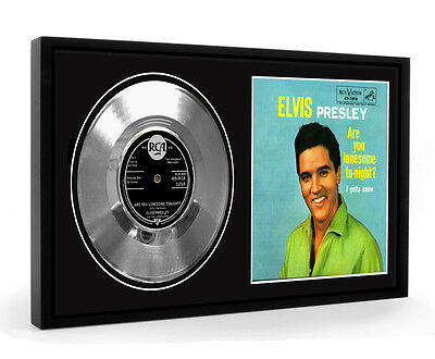 Elvis Presley Are You Lonesome Tonight Framed Silver Disc Display Vinyl (LO)