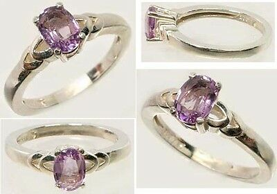 Antique 19thC Scotland Celt Talisman Faceted Amethyst Gem 925 Ring