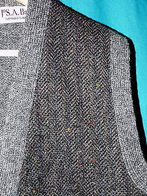 Quality! VINTAGE JOS A BANK HERRINGBONE SWEATER VEST, WOOL, BUTTON UP, Sz L