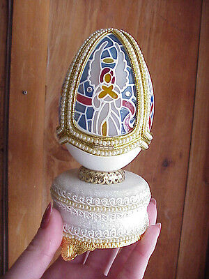REAL Goose Egg Collectible Angel Music Box Hand Decorated Stained Glass Gift