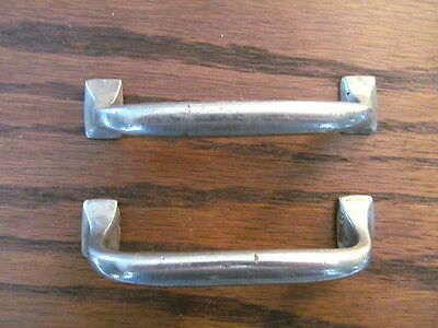 Vintage nickel Plated Cast Iron drawer window pulls  Mission Arts Crafts
