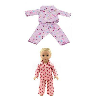 """2x Pajamas PJS Nightgown Clothes Set for 18"""" Our Generation American Girl Doll"""