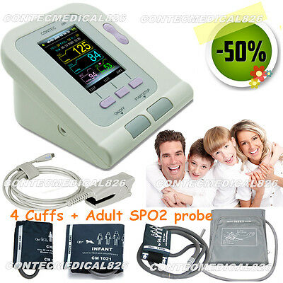 CE Promotion SPO2/Pr Blood Pressure Monitor Electronic Sphygmomanometer+4 Cuffs