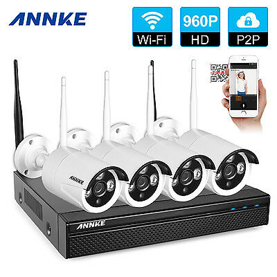Annke 4CH Wireless 960P HDMI DVR NVR Outdoor HD IP Camera CCTV Security System