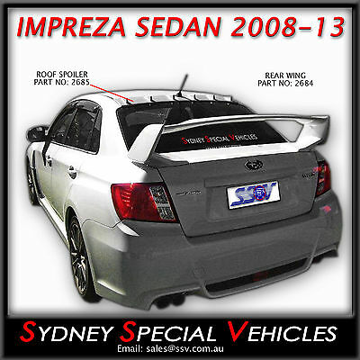 REAR WING SPOILER STI STYLE FOR IMPREZA WRX SEDAN 2008 to 2013 BOOT WING