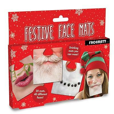 Face Mats 20 Double-Sided Beer Mats Coasters Festive Christmas Party Game