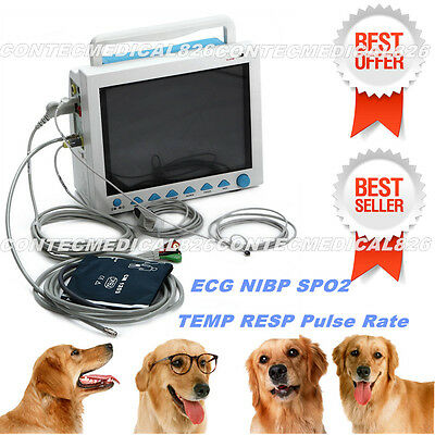 CE,Veterinary Vital Signs Monitor VET Patient Monitor ECG NIBP SPO3 RESP TEMP PR