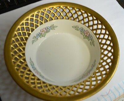 Beautiful Reticulated Floral with Gold Trim Bowl Beehive Mark Germany