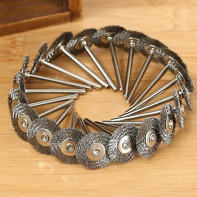 20 X Stainless Steel Wire Wheel Rotary Brushes Tools For Accessories 22mm