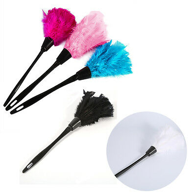 Soft Turkey Feather Duster Brush Black Hand-holder Furniture Cleaning Tackle HD