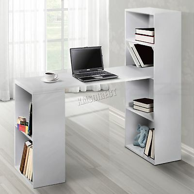 FoxHunter Multifunction Computer Desk 2 Large Shelves Home Office CD08 White