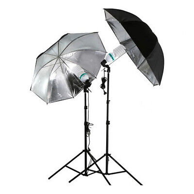 "33"" Photo Studio Flash Light Reflector Reflective Black Silver Umbrella PO"