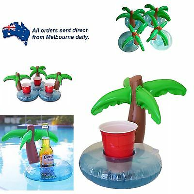 Floating Palm Tree Blow Up Drink/Can Holder Pool Party Beach