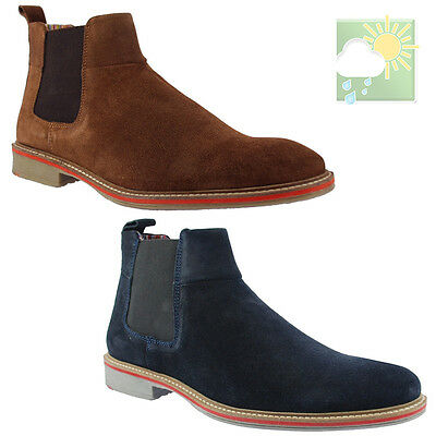 ROAMERS® Suede Chelsea Boots Mens Leather Sand or Navy UK 6-12