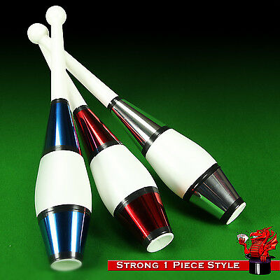 Set of 3 Juggling Clubs - Hard Wearing 1 Piece Design (Perfect for beginners)