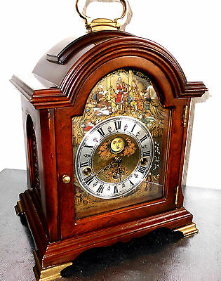 rare vintage Christiaan Huygens dutch Westminster bracket mantel clock moonphase