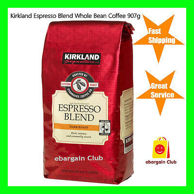 Kirkland Expresso Blend Coffee Whole Bean Dark Roast Roasted by Starbucks