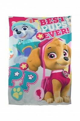 Paw Patrol 'Best Pups Ever' Girls Panel Fleece Blanket Throw Brand New Gift