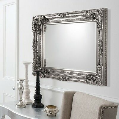 "Carved Louis Wall Mirror Baroque Framed Rectangle Silver Leaf Finish 47"" x 35"""
