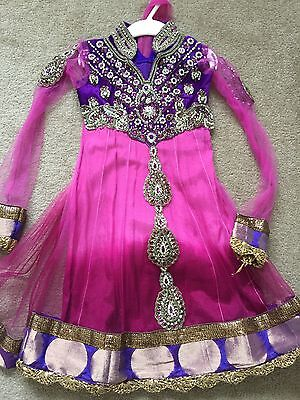 Childrens Anarkali Indian Asian Bollywood Style Dress Pink