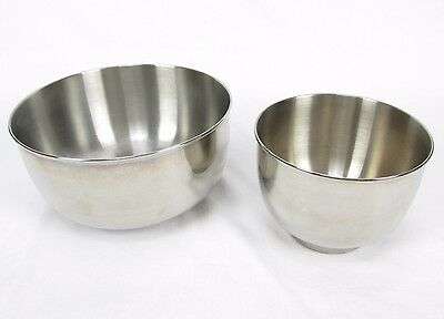 """Sunbeam Mixmaster Stand Mixer 2 Stainless Steel Replacement Bowls Size 9"""" & 6"""""""