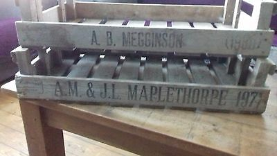 Original vintage wooden. MOST with date stamp ALL with farmers name stamp.