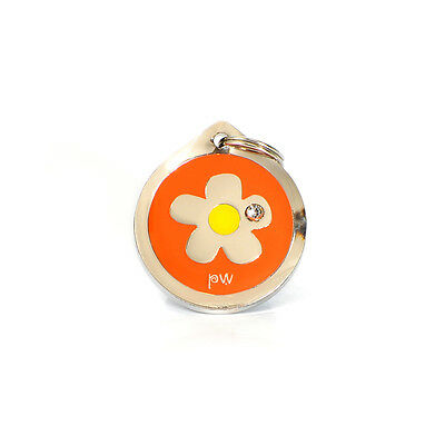 Poochiwoochi Pet Dog ID Tag FLOWER Design Engraving Option FREE UK Delivery