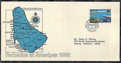 Barbados First Day Cover 1986 Ameripex '86 Stamp Expo & Statue Of Liberty Cent