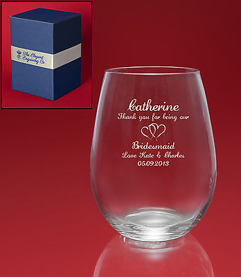 Personalised Engraved STEMLESS Wine Glass with Beautiful Gift Box-Message+Image