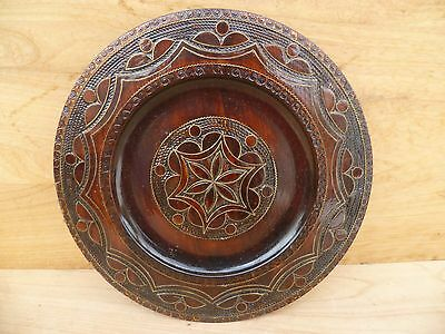 Vintage Old Timber German Decorative, Poker Work Platter, (B788)