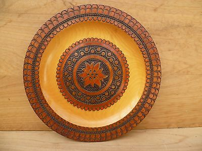 Vintage Old Timber German Decorative, Poker Work Platter, (B789)