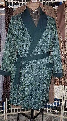 VINTAGE DRESSING GOWN smoking jacket 60s green white diamond pattern 42""