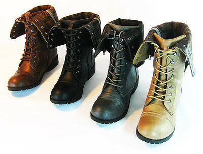 Fordable Round Toe Low Heel Combat Military Lace Up Mid Calf Womens Shoes Size