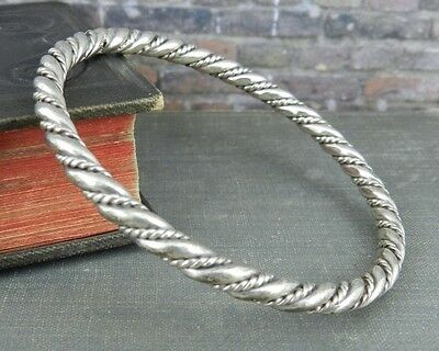 Twisted Rope Bangle Bracelet in Silver