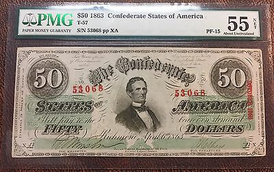 1863 $50 T-57 Confederate States of America ~ PMG 55 ABOUT UNC ~ RARITY 8