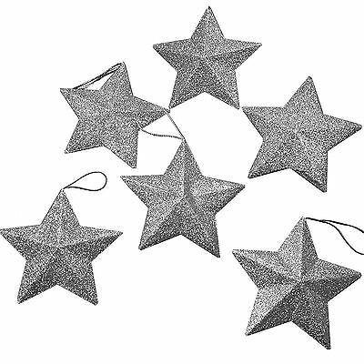 6 Christmas Party Silver Stars Decorations 9cm Glitter Hanging Tree Decoration
