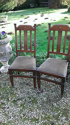 Pair  Vintage  Oak  Side  Chairs
