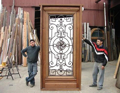 Huge Antique Single Front Door With Wrought Iron Inserts #B1514