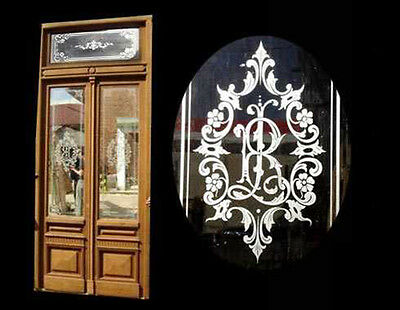 Salvage Double Door (fully restored) w/ Etched Glass #4308
