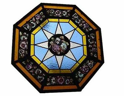 Leaded And Hand Painted Glass Panel Made In Iron #4264