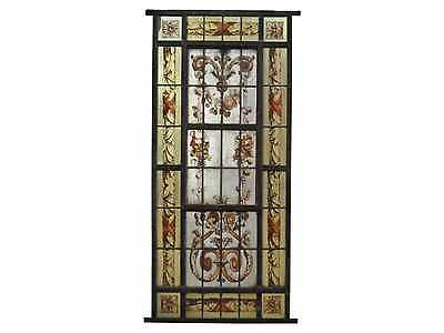 Antique Hand Painted Stained Glass Window Panel #A4011