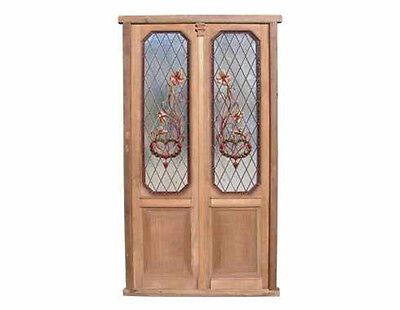 Stained & Hand Painted Antique Double Door #4749